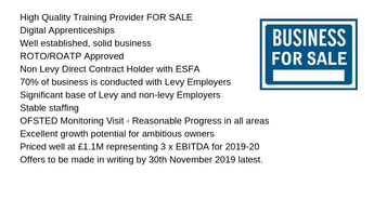 High Quality Training Provider FOR SALE Priced  at £1.1M representing 3 x EBITDA for 2019-20