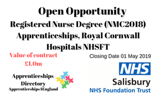Registered Nurse Degree (NMC2018) Apprenticeships, Royal Cornwall Hospitals NHSFT