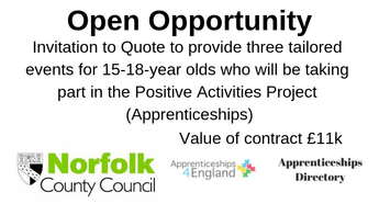 Invitation to Quote to provide three tailored events for 15-18-year olds who will be taking part in the Positive Activities Project (Apprenticeships).
