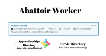 ABATTOIR WORKER Level 2: Find Training Providers & EPA Organisations