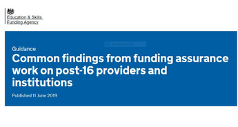 Common findings from funding assurance work on post-16 providers and institutions