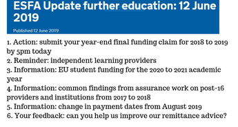 ESFA Update further education: 12 June 2019