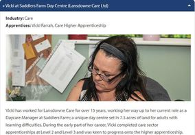 Meet our Apprentices: » Vicki at Saddlers Farm Day Centre (Lansdowne Care Ltd)