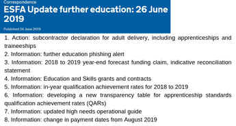 ESFA Update further education: 26 June 2019 (Apprenticeships Directory
