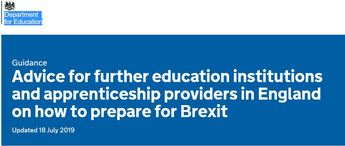 Advice for further education institutions and apprenticeship providers in England on how to prepare for Brexit