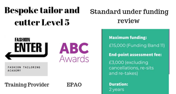 Bespoke tailor and cutter, level 5 Apprenticeship Standard Under Review