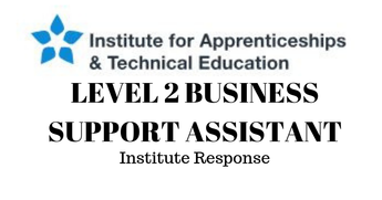 Institute Response for withdrawal of Level 2 Business Support Assistant