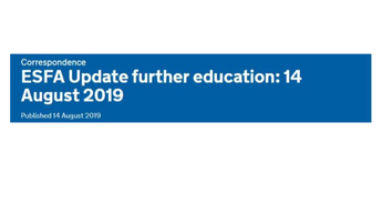 ESFA Update further education: 14 August 2019