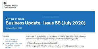 ESFA: Business Update - Issue 58 (July 2020)