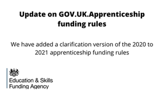 ESFA 15th July: Information about funding for training and assessing apprentices in England.