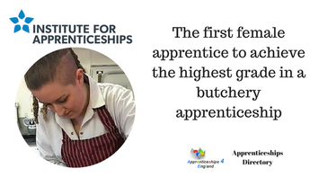 The first female apprentice to achieve the highest grade in a butchery apprenticeship