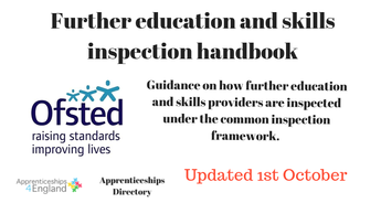Revised Ofsted Common Inspection Handbook from  - 1st October.  The changes clarify Monitoring Visits to newly directly funded providers and states: