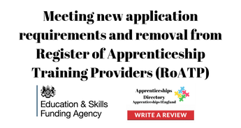 Meeting new application requirements and removal from Register of Apprenticeship Training Providers (RoATP)