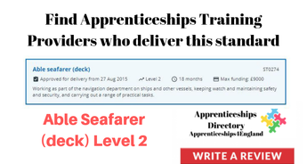 Able Seafarer (deck) Level 2: Find Apprenticeships Training Providers who deliver this standard