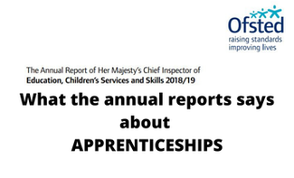 Apprenticeships: The Ofsted annual report, detailing all inspection data & outcomes from 18/19.