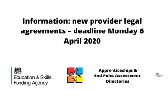Information: new provider legal agreements – deadline Monday 6 April 2020