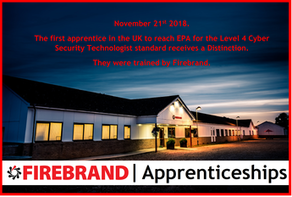 Firebrand became the first training provider to submit a Level 4 Cyber Security Technologist apprentice for their End Point Assessment.