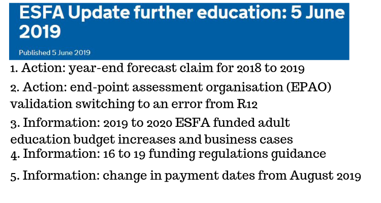 ESFA Update further education: 5 June 2019  (apprenticeships directory)