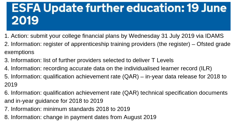 ESFA Update further education: 19 June 2019