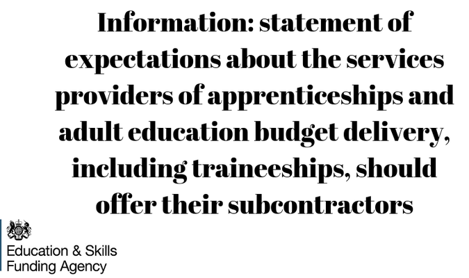 Information: statement of expectations about the services providers of apprenticeships and adult education budget delivery, including traineeships, should offer their subcontractors