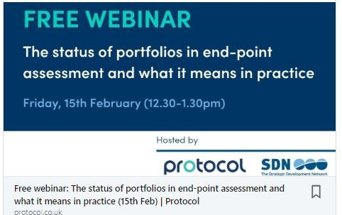 Free webinar: The status of portfolios in end-point assessment and what it means in practice