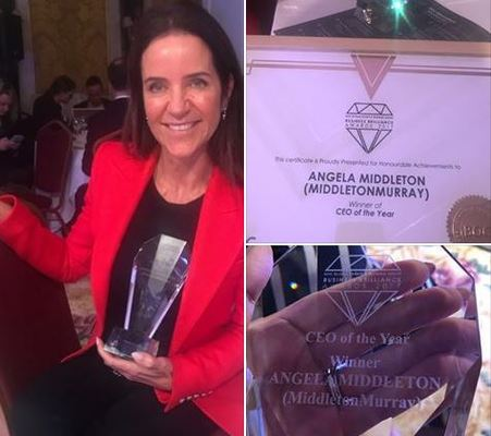 Angela Middleton Wins the coveted 'CEO of the Year' award at Business Brilliance Awards 2017