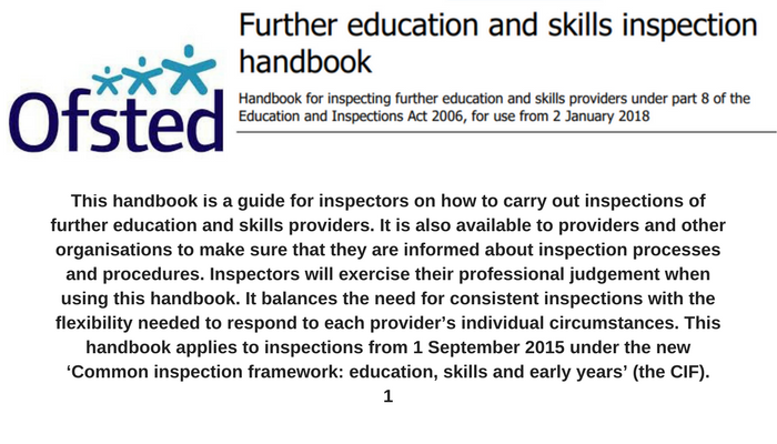 OFSTED: Inspection Handbook to be used from 2nd Jan 2018