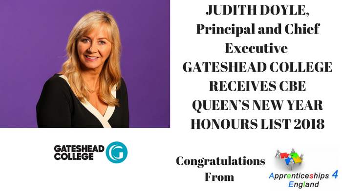 Judith Doyle, Principal and CEO of Gateshead College  CBE, Queens New Year Honours List 2018
