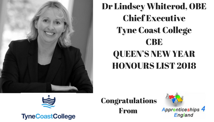Dr Lindsey Whiterod OBE, Chief Executive of Tyne Coast College (formerly South Tyneside College) CBE New Years Honours List 2018