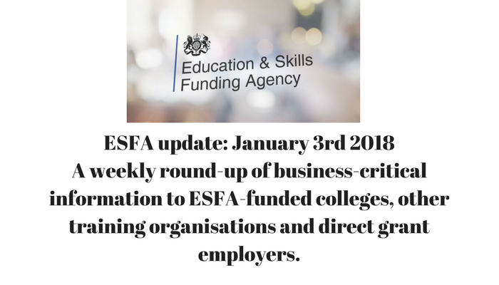 ESFA update: 3rd January 2018