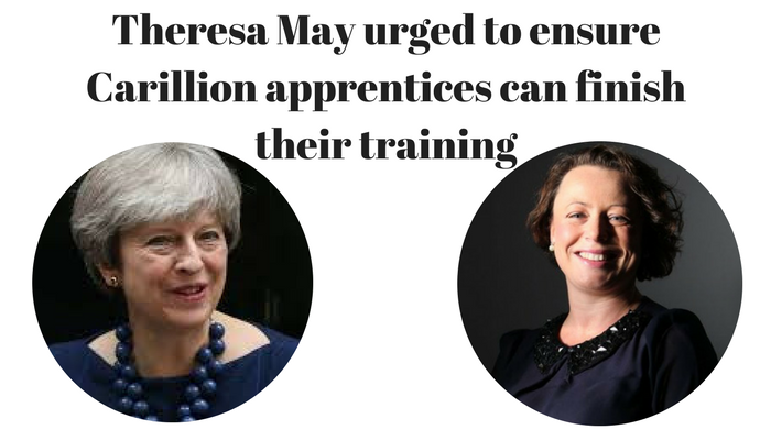 Theresa May urged to ensure Carillion apprentices can finish their training