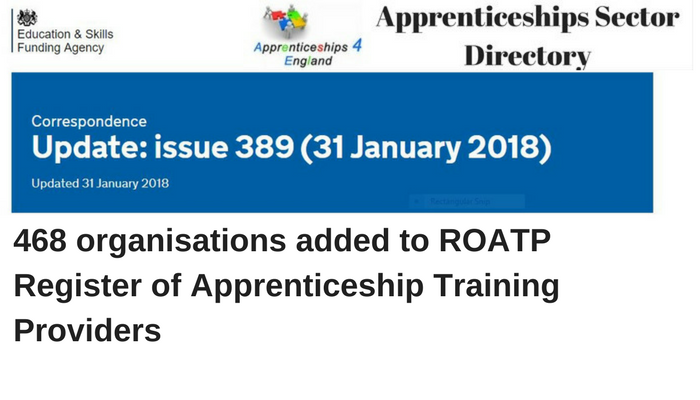468 organisations added to ROATP: Register of Apprenticeship Training Providers