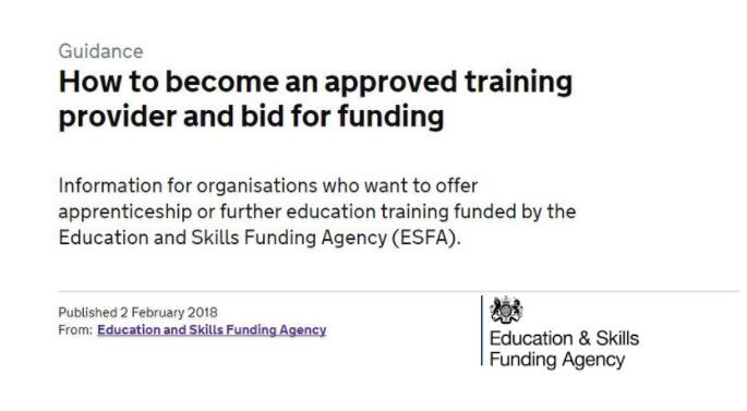 How to become an approved training provider and bid for funding