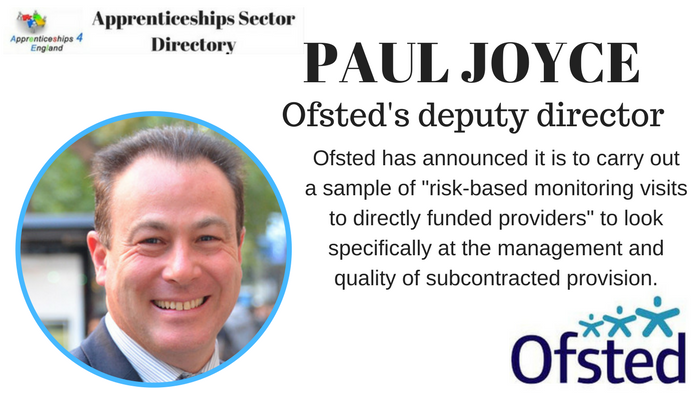 Ofsted  monitoring visits on subcontractors