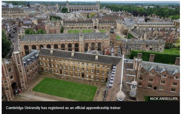 Cambridge University to offer apprenticeship training