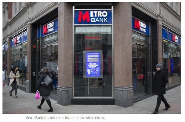 Metro Bank to create 100 jobs as it bolsters apprenticeship scheme