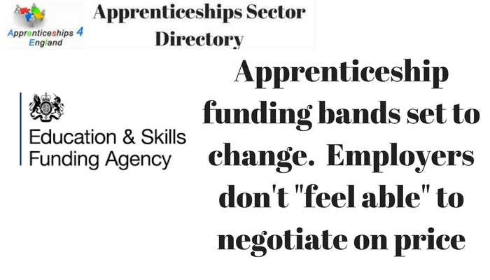 Apprenticeship funding bands set to change. Employers don't
