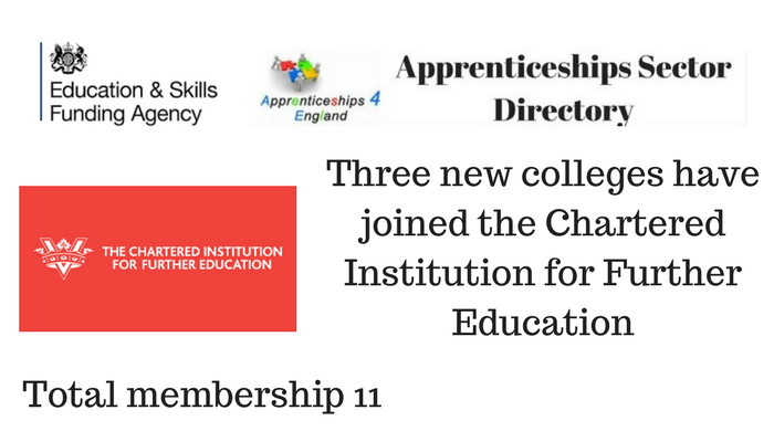 Three new colleges have joined the Chartered Institution for Further Education