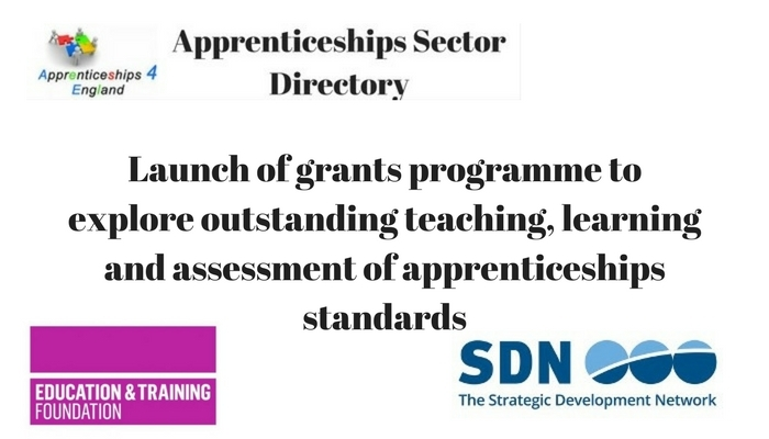 Launch of grants programme to explore outstanding teaching, learning and assessment of apprenticeships standards