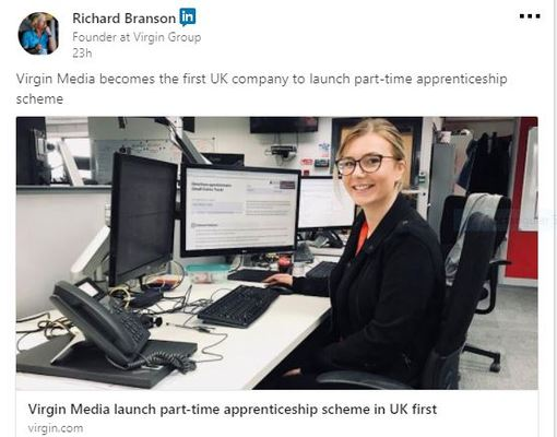 Virgin Media launch 1st part-time apprenticeship scheme in UK
