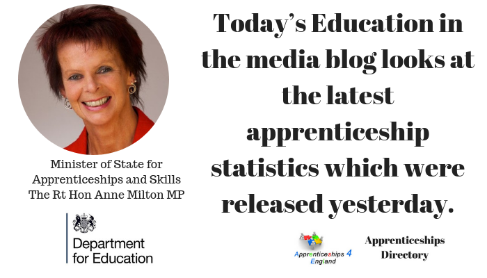 Today's Education in the media blog looks at the latest apprenticeship statistics which were released yesterday