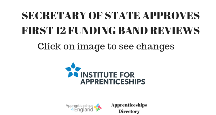 SECRETARY OF STATE APPROVES FIRST 12 FUNDING BAND REVIEWS (Apprenticeships Directory)
