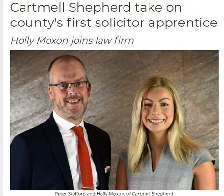 Holly Moxon joins law firm:Cartmell Shepherd take on county's first solicitor apprentice
