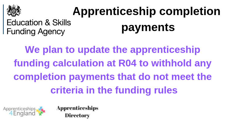 Information: apprenticeship completion payments: From Dec 2018