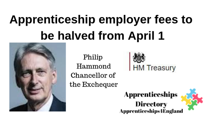 The 10-per-cent fee that small businesses must pay when they take on apprentices will be halved to 5%from April 1