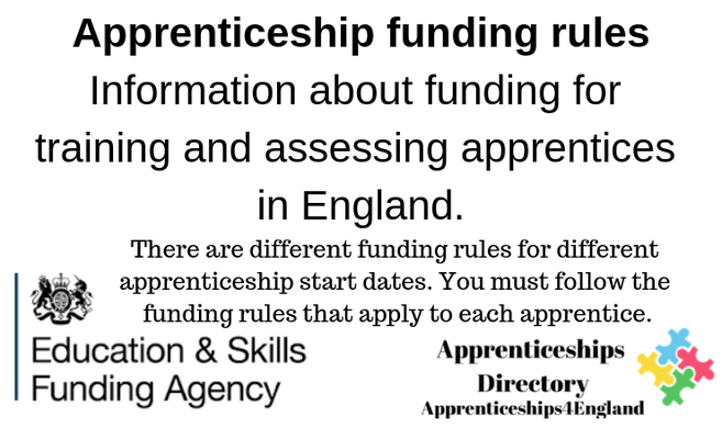 Apprenticeship funding rules Information about funding for training and assessing apprentices in England.