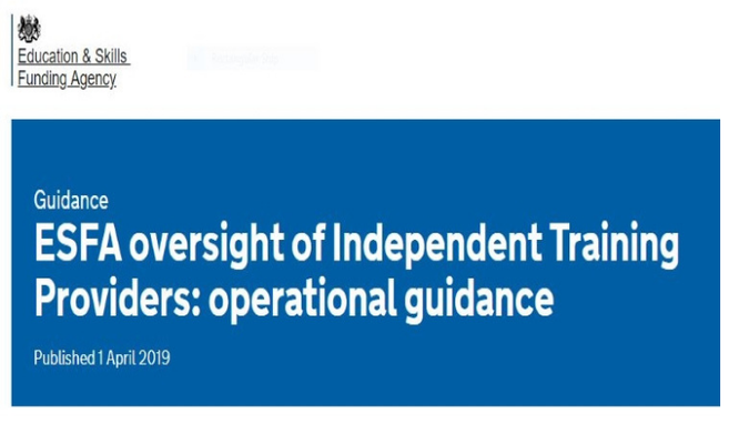 Guidance  ESFA oversight of Independent Training Providers: operational guidance (Apprenticeships Directory)