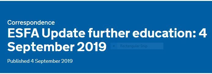 ESFA Update further education: 4 September 2019