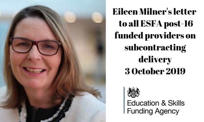Letter to all ESFA post-16 funded providers on subcontracting delivery