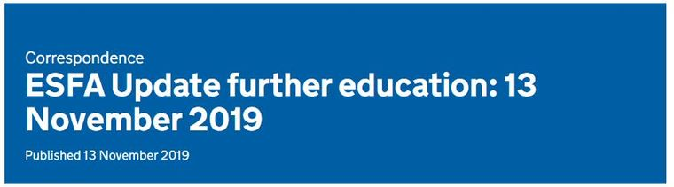ESFA Update further education: 13 November 2019